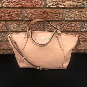 Coach Small Kelsey Satchel with Floral Tooling